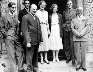 Charlie Chaplin with Mr and Mrs Winston Churchill and members of a house party at Chartwell Manor