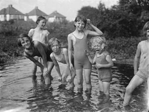 Children enjoying the paddling pool in St Mary Cray, Kent. 1936
