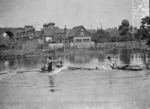 Children paddling, Orpington. 1937