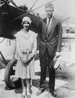 Colonel Charles Lindbergh takes his bride for a honeymoon flight. 26 June 1929