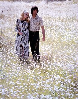 Couple walking through a field of daisies love couple romance romantic for valentines