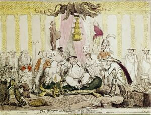 The Court at Brighton a La Chinese - 1816 by George Cruikshank (1792-1878) British