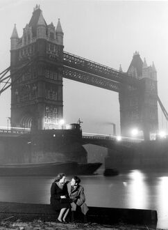Courting couple 40s/50s with Tower Bridge in background love couple romance romantic