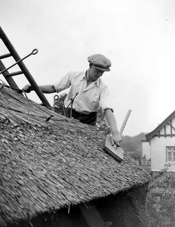 The craft of thatching - At work on thatching the picturesque Old Cottage at the