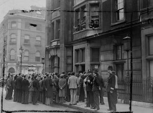 A crowd gathered outside the Ivanhoe hotel, Bloomsbury, London today. To listen to