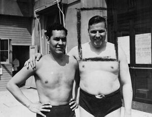 Daniel Carpio (left), a noted Peruvian swimmer and holder of the South American