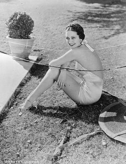 A dazzling new bathing creation worn by Dorothy Lamour, the Hollywood film actress