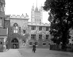 Deans Yard at Westminster Abbey, Westminster, London, England. 1930s
