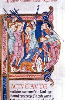 The death of Saul at Gilboa from 12th Century Lambeth Bible