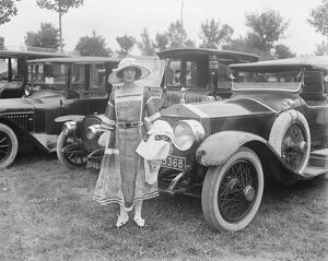 At Deauville Races. Lady Peek standing by her Rolls Royce. 11 August 1921