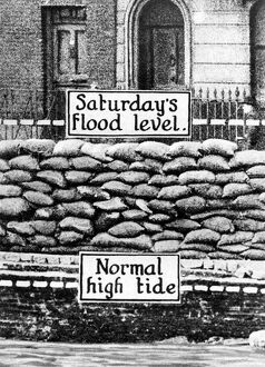 The disastrous overflowing of the Thames: The normal high-tide level at the point