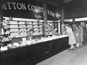 Ditton Court Farm - tea room counter. Ditton, Kent, England November 1947