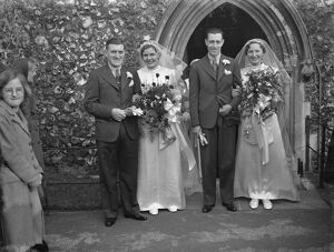 A double wedding at St Nicholas in Chislehurst, Kent. Mr F A Diaper. The brides