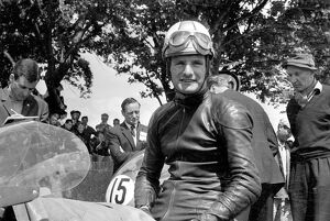Douglas, Isle of Man: Britian's Mike Hailwood, motor cycle World Champion pictured