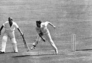 Douglas V P Wright bowling for England against New Zealand at the Oval in 1949. B