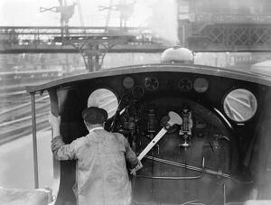 The driving cab of a typical Southern Railway Engine at Waterloo Station. 2 July 1923