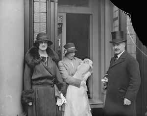 The Earl and Countess of Cavan with their infant daughter. 28 November 1924
