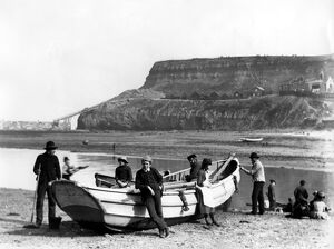 An early fishing boat called a coble at Whitby in Yorkshire, Fish where the fish are!