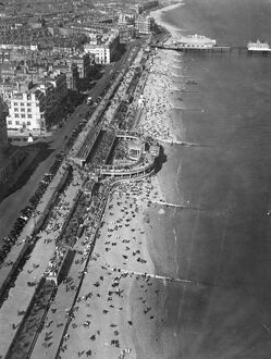 Eastbourne Beach, Sussex, photographed from the air while thousands of holidaymakers