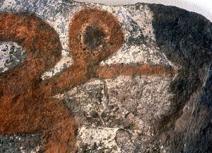 Easter Island - Birdman cult - Detail of an ancient rock painting of one of the bird