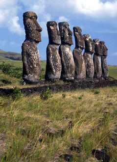 Easter Island - Group of megalithic statues on Easter Island