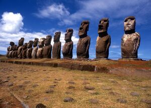 Easter Island - The raised upright giant statues below the ancient volcanic quarry