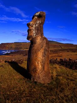 Easter Island. Statue, with traces of carvings on body