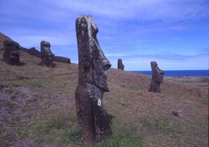 Easter Island A few of the upright giant statues near the ancient volcanic quarry