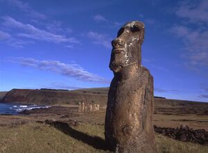 Easter Island. One of the upright giant staues near the ancient volcanic quarry