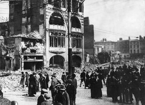 Easter Rebellion Sackville Street looking towards O'Connell Bridge, over which the