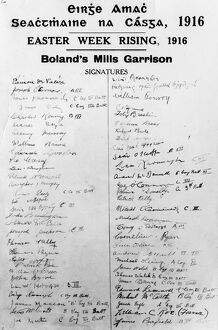 Easter Rising Ireland - 1916 Signatures of members of Boland's Mill Garrison commanded