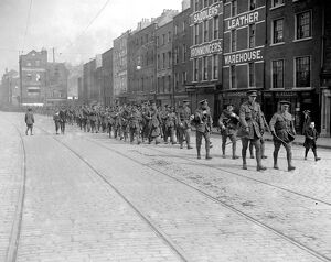 The Easter Rising ( originally captioned The Dublin Rebellion ) Troops march through