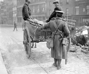 Easter Rising (originally captioned The Dublin rebellion) A sentry searching