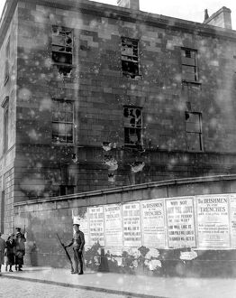 Easter Rising (originally captioned The Dublin rebellion) Damage done to the