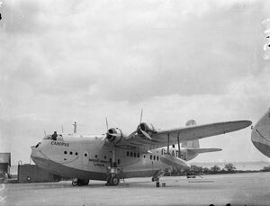 Empire flying boat pre-pared for inauguration of new air route to South Africa