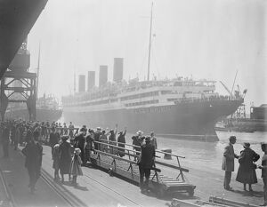 The famous Cunard liner ' Aquitania ' leaving Southampton for New York on Saturday