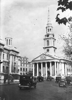 The famous London church. The Doric pillars and gracefully tapering spires of St