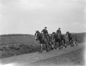 Farm workers returning home on their horses after a day 's ploughing