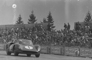 The Ferrari of John Surtees and Ludovico Scarfiotti pictured in their Ferrari during