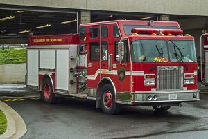 A fire engine of the Sudbury Ontario Canada fire brigade (department) standing out