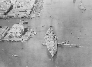 First Air Pictures of The Prince of Wales When HMS Renown was in the Suez Canal at