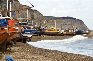 Fishing boats pulled up onto the shingle at Hastings, Sussex, UK credit: Marie-Louise