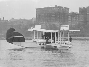 Flying Boat Carries 27 People The enclosed flying boat ' Mendoza ' which has just