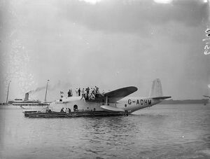 Flying boats 'Caledonia'being prepared for the first commercial Atlantic crossing