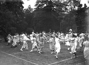Folk dancing in Orpington, Kent. 1934 dance / dancing / party season / celebration