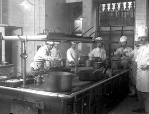 The Forum Club, 6 Grosvenor Place, Hyde Park, London. The kitchens. 5 October 1920