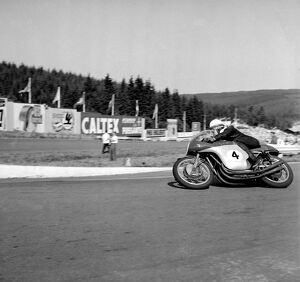 Francorchamps, Belgium : Britain ' s famous John Surtees on an M V Augusta motorbike