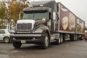 A freightliner 6x4 artic unit, hauling for the Canadian icon, Tim Horton s coffee