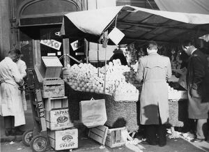 Fruit stall in the Rupert Street Market, Soho, London, England. undated