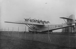 German Dornier Do X plane to fly the Atlantic. It has been fitted with 12 new engines